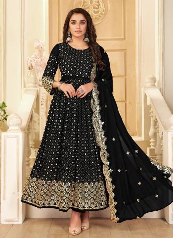 Wedding Wear Black Mirror Work Pure Georgette Anarkali Suit