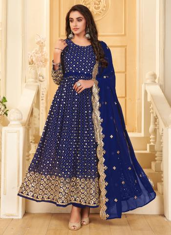 Wedding Wear Blue Mirror Work Pure Georgette Anarkali Suit
