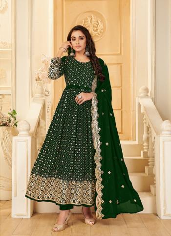 Wedding Wear Green Mirror Work Pure Georgette Anarkali Suit