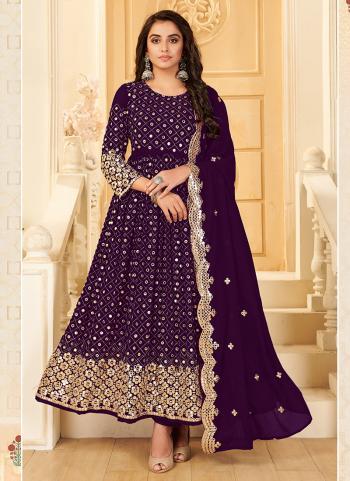 Wedding Wear Purple Mirror Work Pure Georgette Anarkali Suit