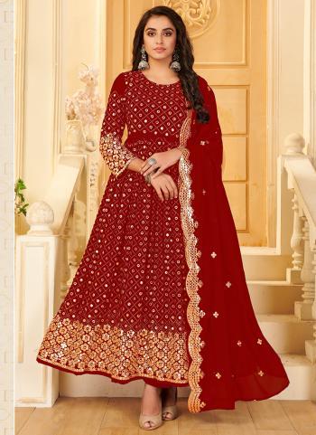 Wedding Wear Red Mirror Work Pure Georgette Anarkali Suit
