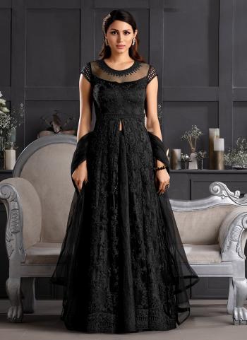 Reception Wear Black Embroidery Work Net Anarkali Suit
