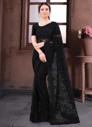 Wedding Wear Black Resham Work Net Saree