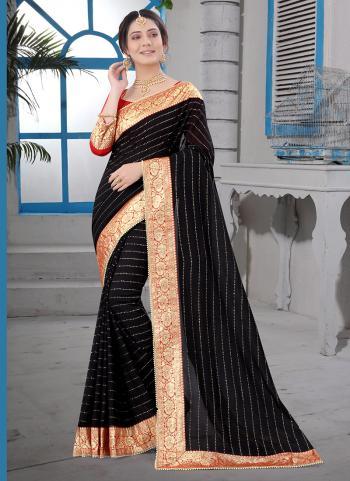 Party Wear Black Moti Work Vichitra Silk Saree