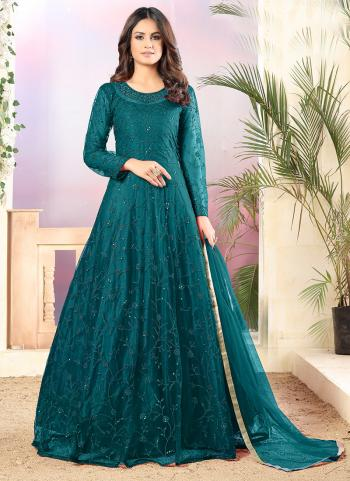 Party Wear Rama Sequins Work Net Anarkali Suit