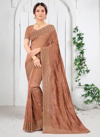 Wedding Wear Peach Resham Work Vichitra Silk Saree