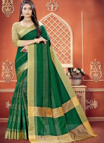 Casual Wear Bottle Green Weaving Work Cotton Saree