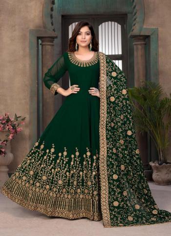 Party Wear Bottle Green Embroidery Work Faux Georgette Anarkali Suit