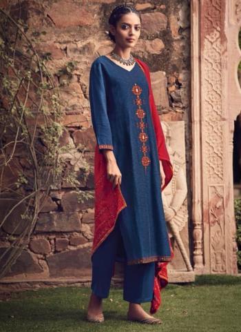 Festival Wear Blue Mirror Work Fancy Silk Salwar Suit