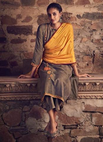 Festival Wear Brown Mirror Work Fancy Silk Salwar Suit