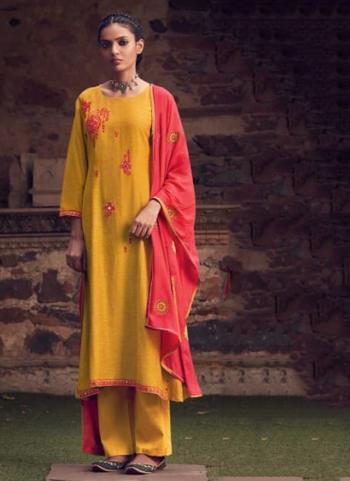 Festival Wear Yellow Mirror Work Fancy Silk Salwar Suit