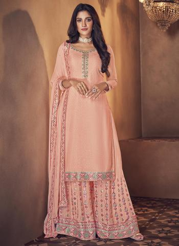 Wedding Wear Light Pink Embroidery Work Real Georgette Palazzo Suit