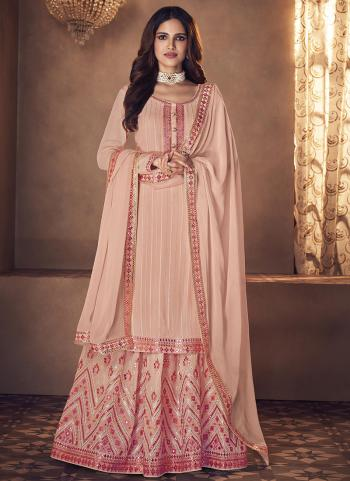 Wedding Wear Pink Embroidery Work Real Georgette Palazzo Suit