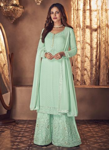 Wedding Wear Pista Green Embroidery Work Real Georgette Palazzo Suit