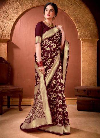 Festival Wear Maroon Weaving Work Banarasi Silk Saree