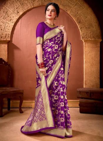 Festival Wear Purple Weaving Work Banarasi Silk Saree