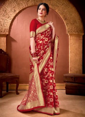 Festival Wear Red Weaving Work Banarasi Silk Saree