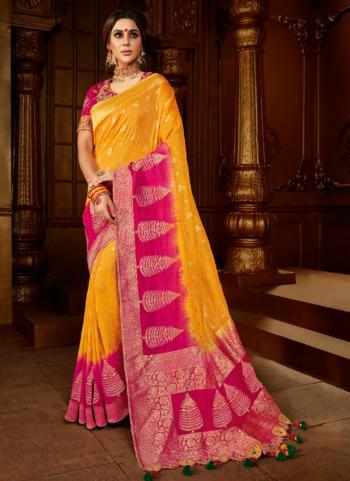 Reception Wear Musterd Weaving Work Viscose Silk Saree
