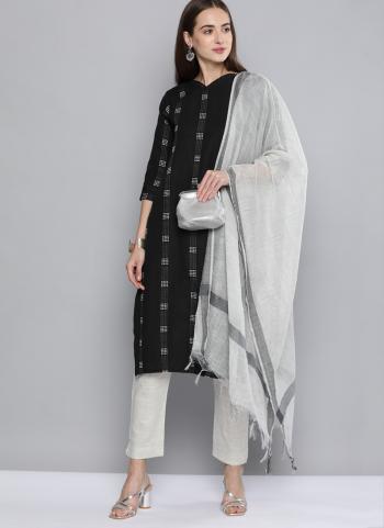 Daily Wear Black Wooven Work Cotton Salwar Suit