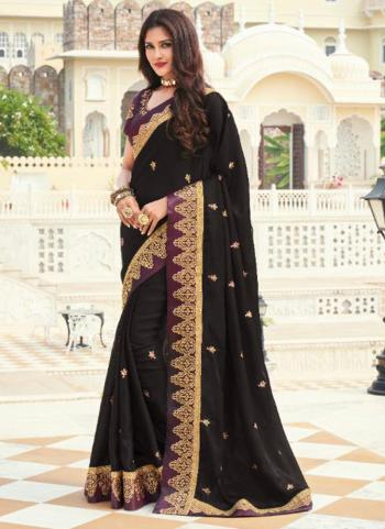 Wedding Wear Black Embroidery Work Silk Saree