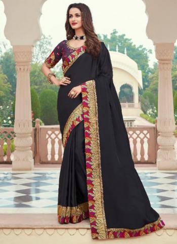 Wedding Wear Dark Black Embroidery Work Silk Saree