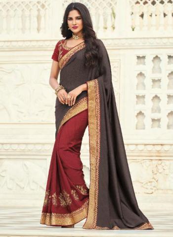 Wedding Wear Dark Grey Embroidery Work Silk Saree