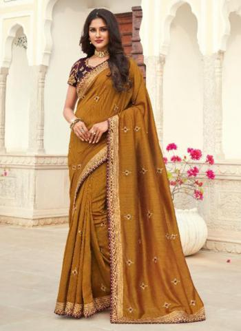 Wedding Wear Gold Embroidery Work Silk Saree