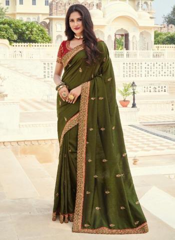 Wedding Wear Green Embroidery Work Silk Saree