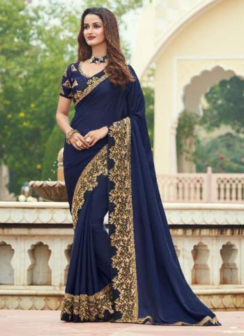 Wedding Wear Navy Blue Embroidery Work Silk Saree