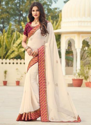 Wedding Wear Off White Embroidery Work Georgette Saree