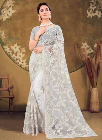 Wedding Wear White Zarkan Work Net Saree