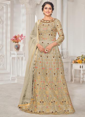 Wedding Wear Beige Embroidery Work Net Anarkali Suit