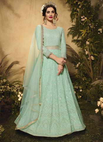 Reception Wear Turquoise Blue Embroidery Work Georgette Anarkali Suit