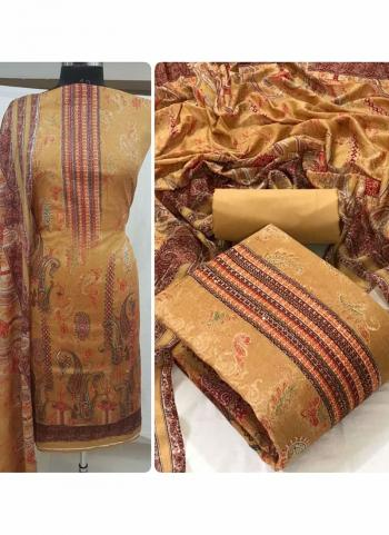 Daily Wear Beige Diamond Work Heavy Cotton Dress Material