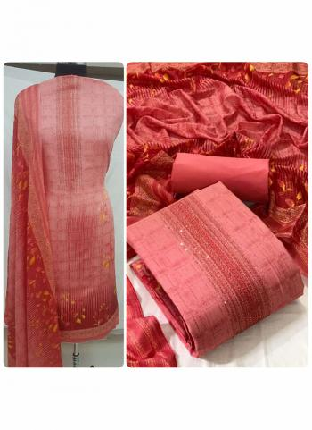 Daily Wear Pink Diamond Work Heavy Cotton Dress Material