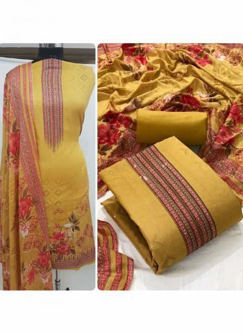 Daily Wear Yellow Diamond Work Heavy Cotton Dress Material