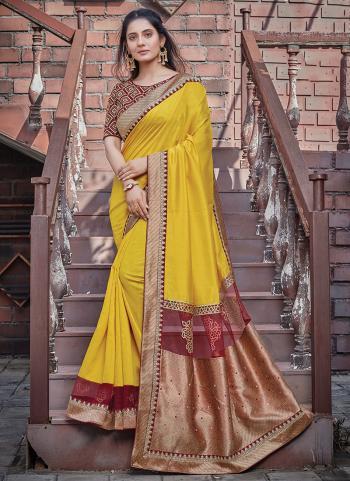 Wedding Wear Yellow Embroidery Work Silk Georgette Saree