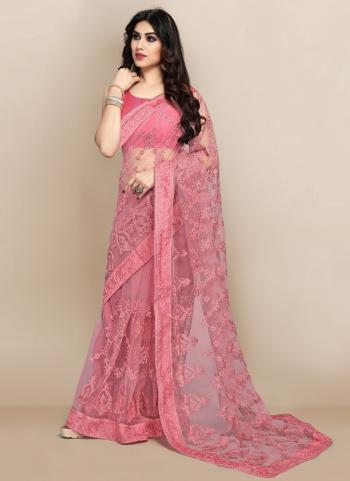 Party Wear Pink Embroidery Work Soft Net Saree