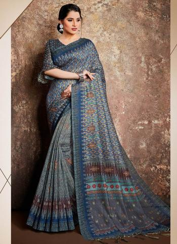 Party Wear Blue Digital Printed Work Silk Saree