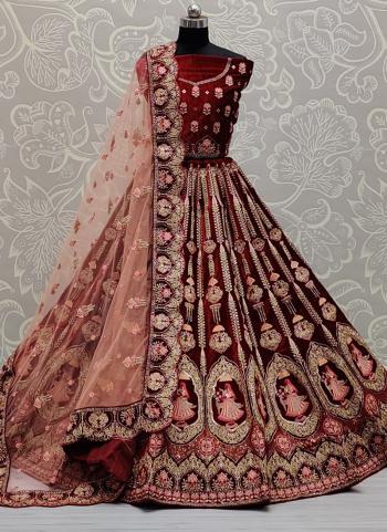 Reception Wear Maroon Sequins Work Velvet Lehenga Choli