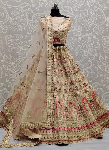 Traditional Wear Beige Dori Work Silk Lehenga Choli