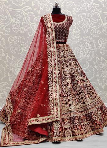 Bridal Wear Maroon Thread Work Velvet Lehenga Choli