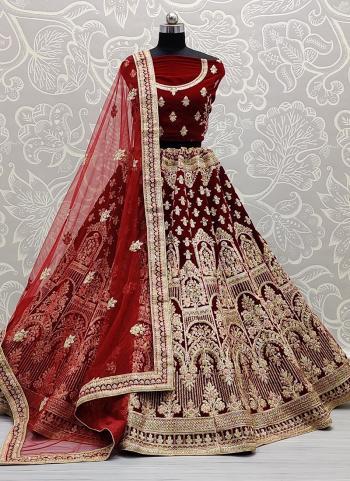 Reception Wear Maroon Dori Work Velvet Lehenga Choli