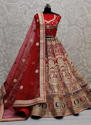 Wedding Wear Red Thread Work Velvet Lehenga Choli