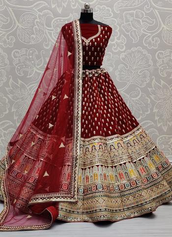 Bridal Wear Maroon Diamond Work Velvet Lehenga Choli