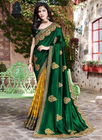 Reception Wear Green Embroidery Work Silk Saree