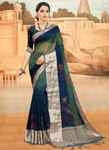 Traditional Wear Blue Digital Printed Work Organza Saree