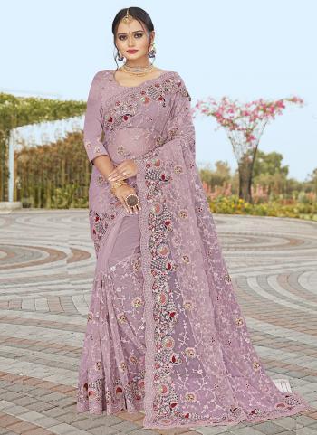 Wedding Wear Dusty Lavander Resham Work Net Saree