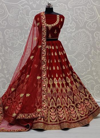 Bridal Wear Maroon Multi Work Velvet Lehenga Choli