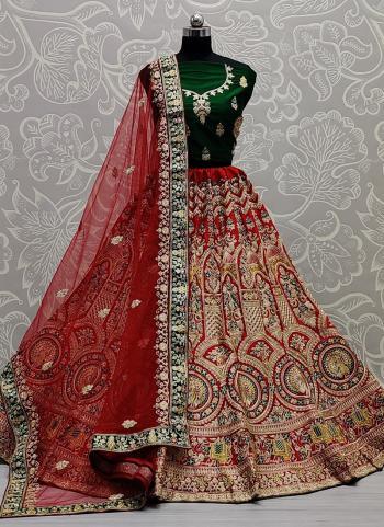 Wedding Wear Red Thread Work Net Lehenga Choli